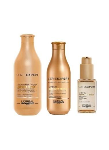 L'oreal Professionnel Loreal Absolut Gold Şampuan 300 Ml+ Krem 200 Ml+ Serum 50 Ml Renksiz
